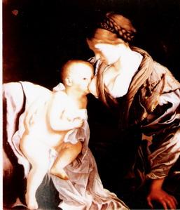 Orazio Gentileshi (1563-1639)  Madonna keblén a gyermek Jézussal  (Christies London
